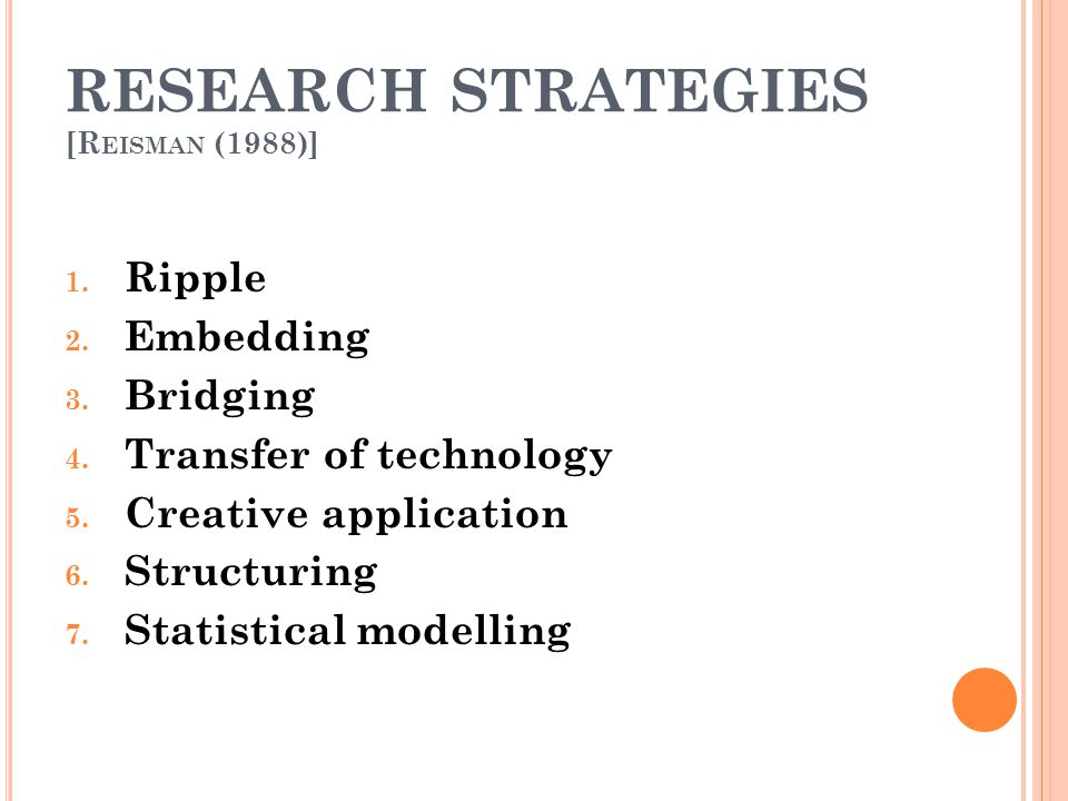 RESEARCH STRATEGIES [Reisman (1988)]
